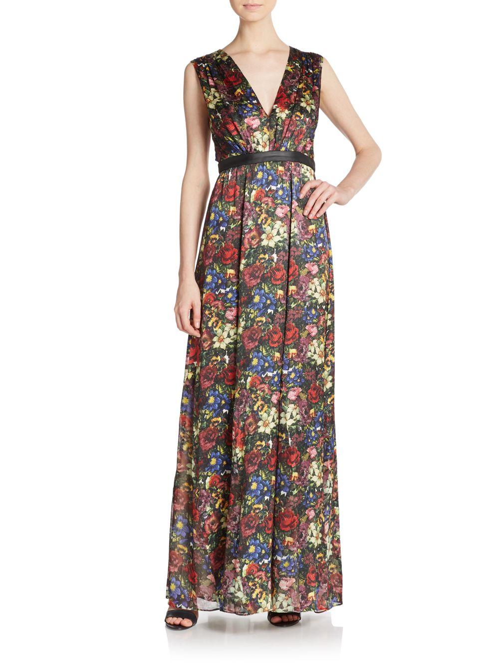 56f968830fe4 Alice + Olivia Triss Leather-trim Maxi Dress - Lyst