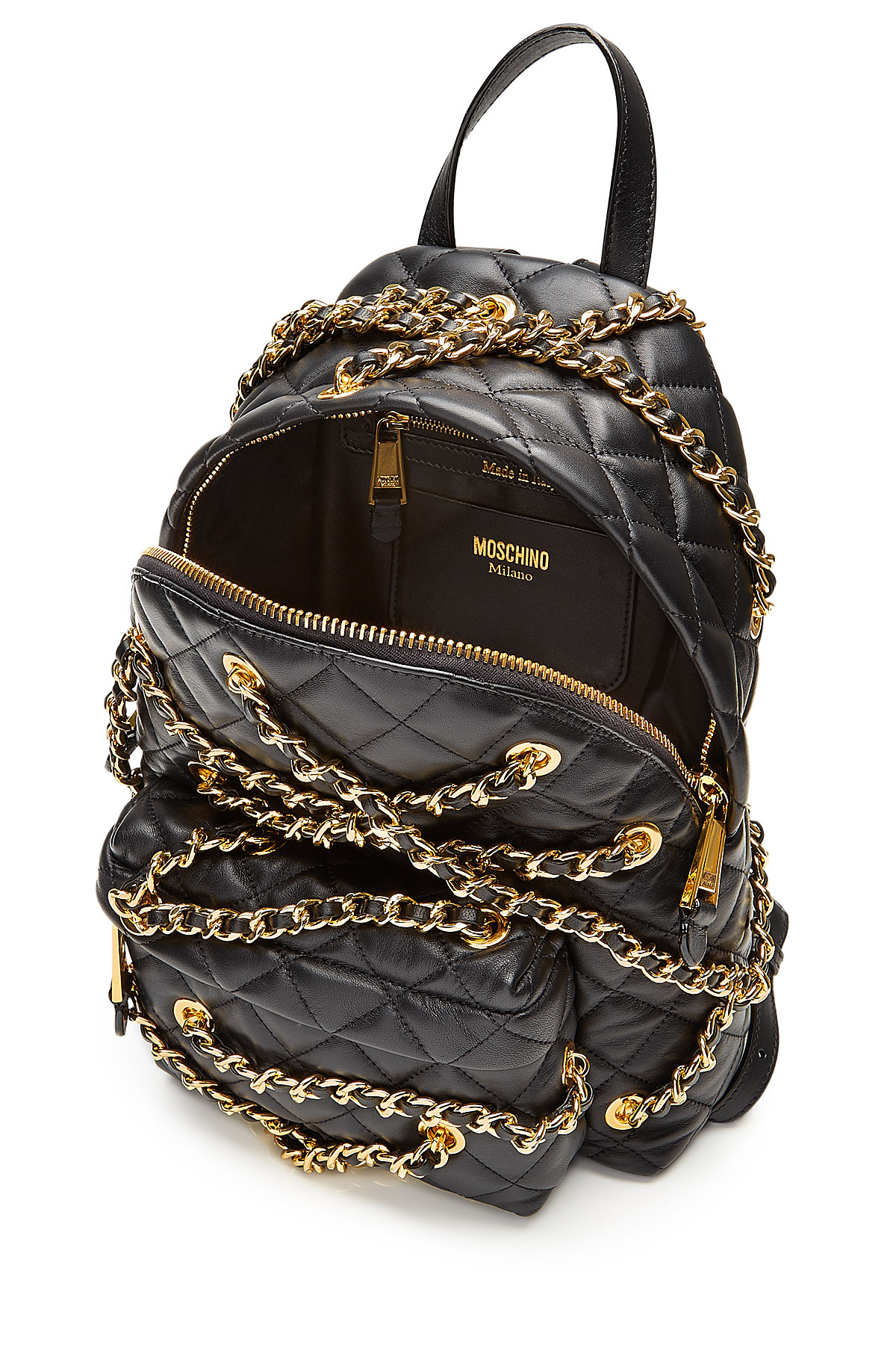 991677cf8a3 Black Leather Backpack With Gold Chain- Fenix Toulouse Handball