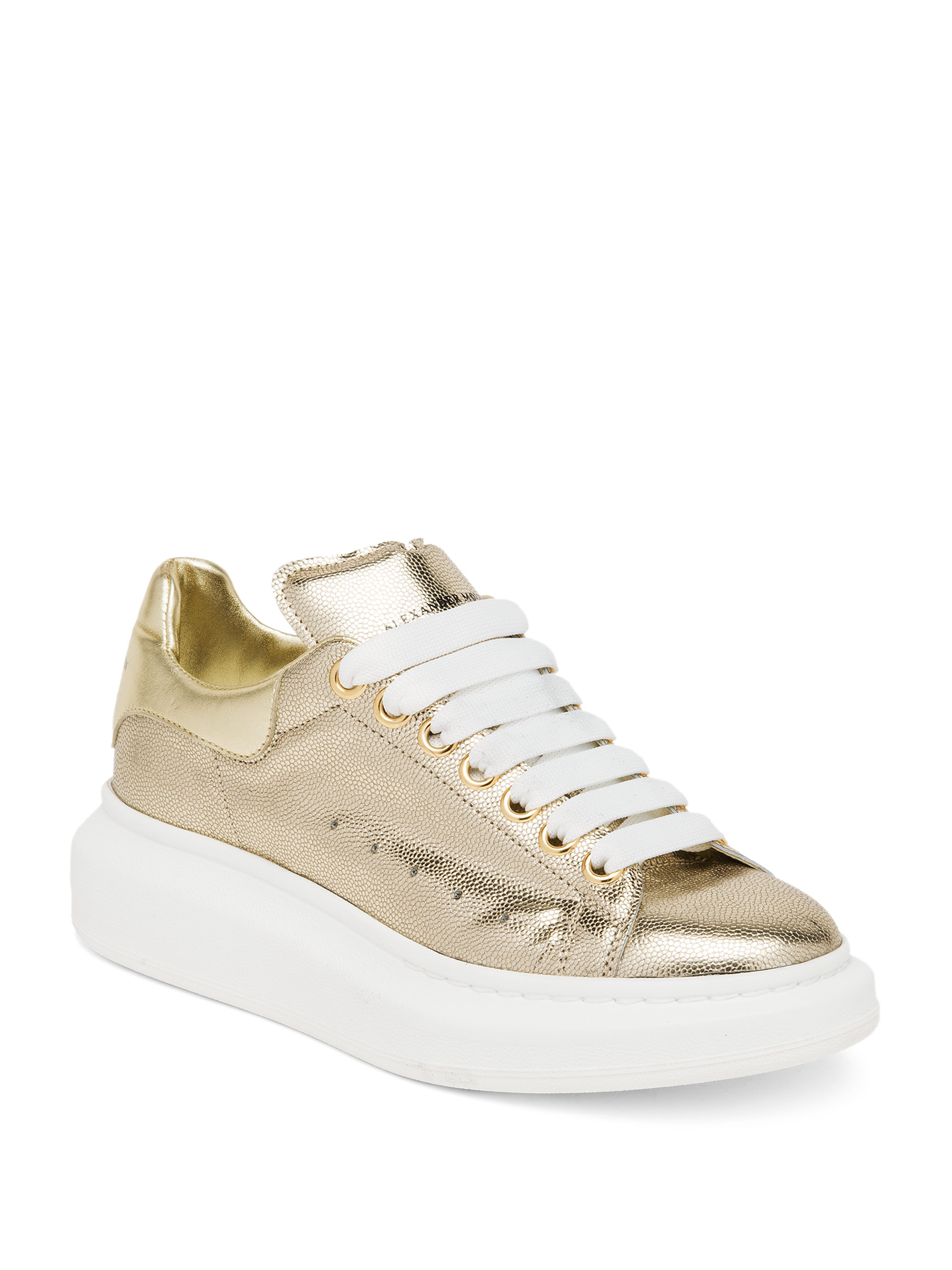 lyst alexander mcqueen embossed metallic leather platform sneakers in metallic. Black Bedroom Furniture Sets. Home Design Ideas