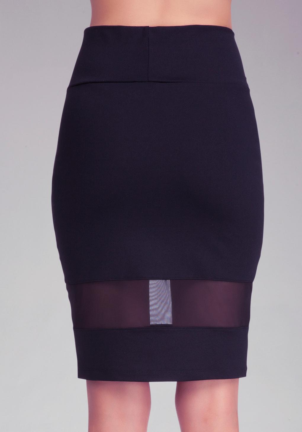 bebe mesh panel pencil skirt in black lyst