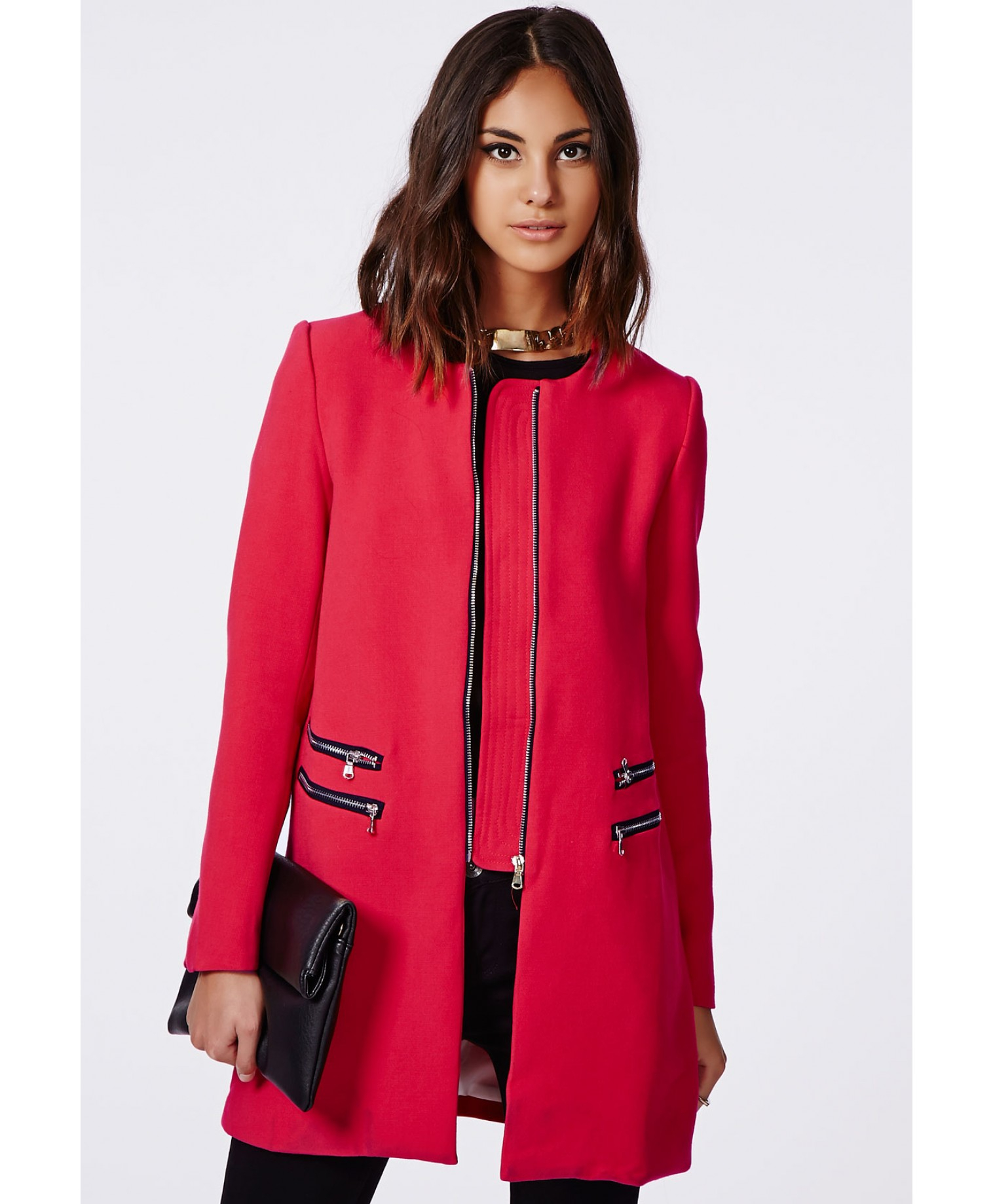 Missguided Jenelle Zip Detail Collarless Jacket Rouge in Red | Lyst