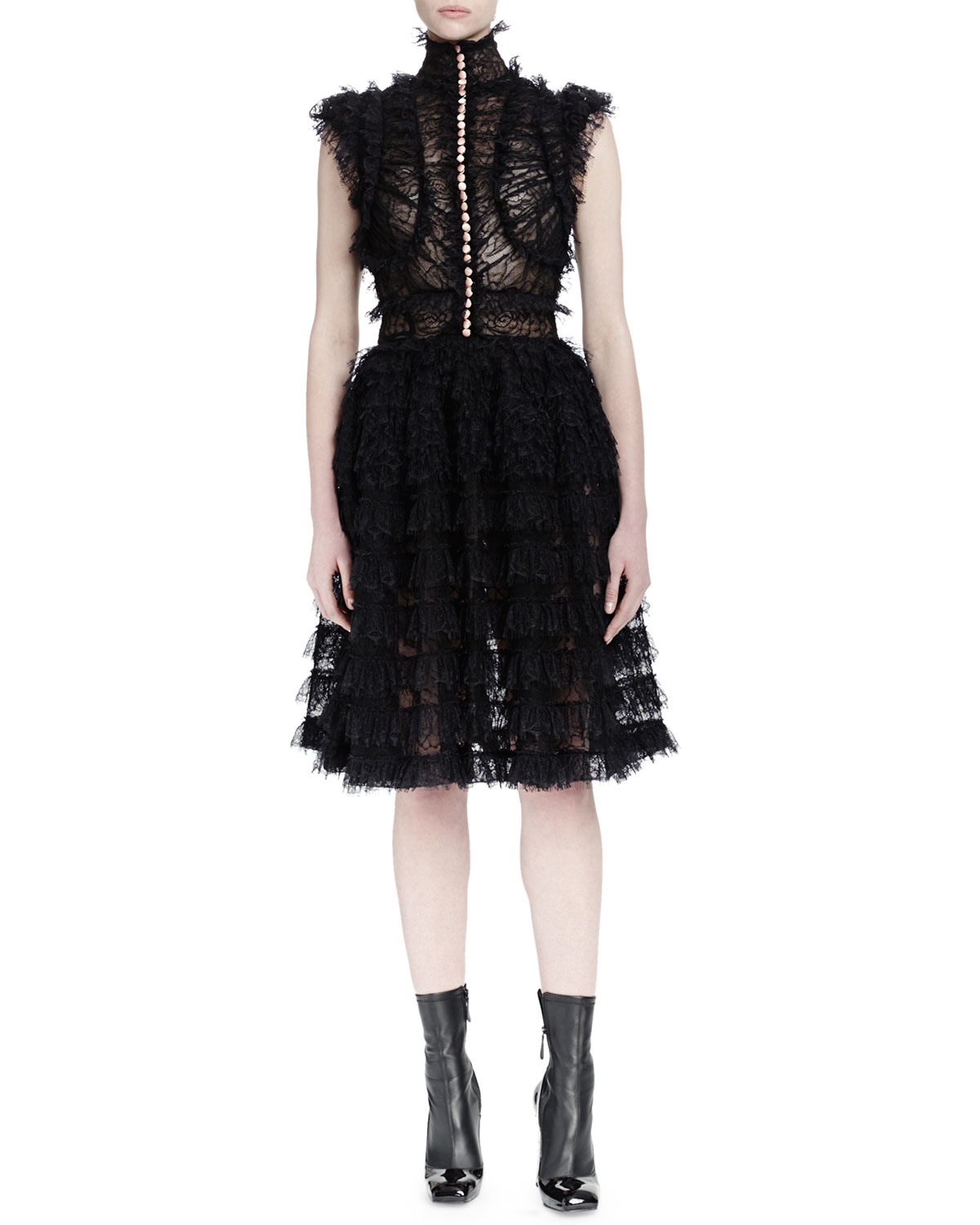 Discount Low Shipping Sale Good Selling ruffled lace jacquard dress - Black Alexander McQueen For Sale Official Site Outlet Purchase Red Pre Order Eastbay eJB8c