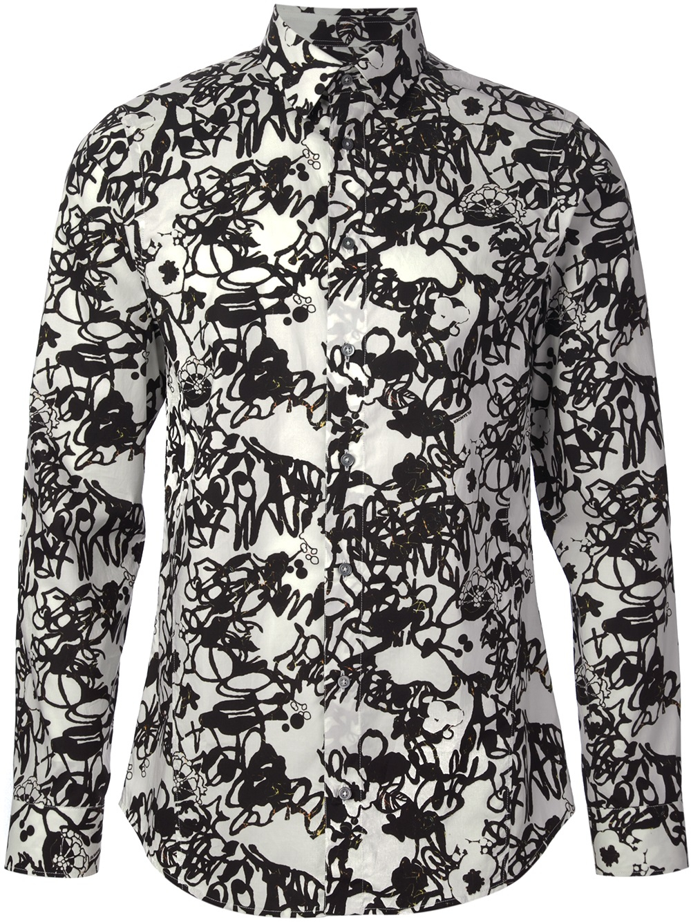 Jil sander Floral Print Shirt in Black for Men | Lyst