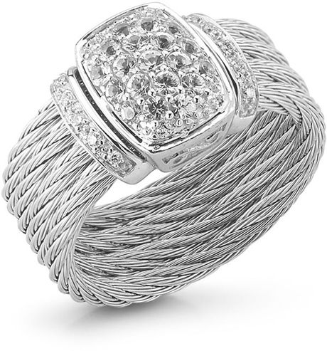 Charriol White Gold Sapphire Cable Ring Size 6.5 in Silver (null) - Lyst