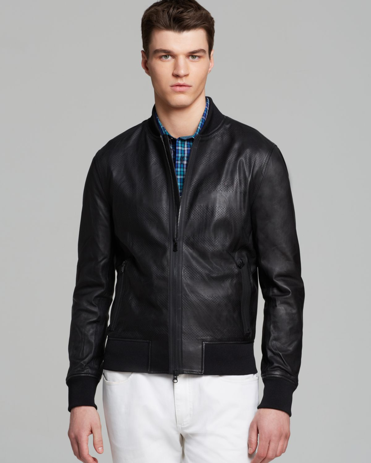 Lyst Michael Kors Perforated Stripe Leather Jacket In