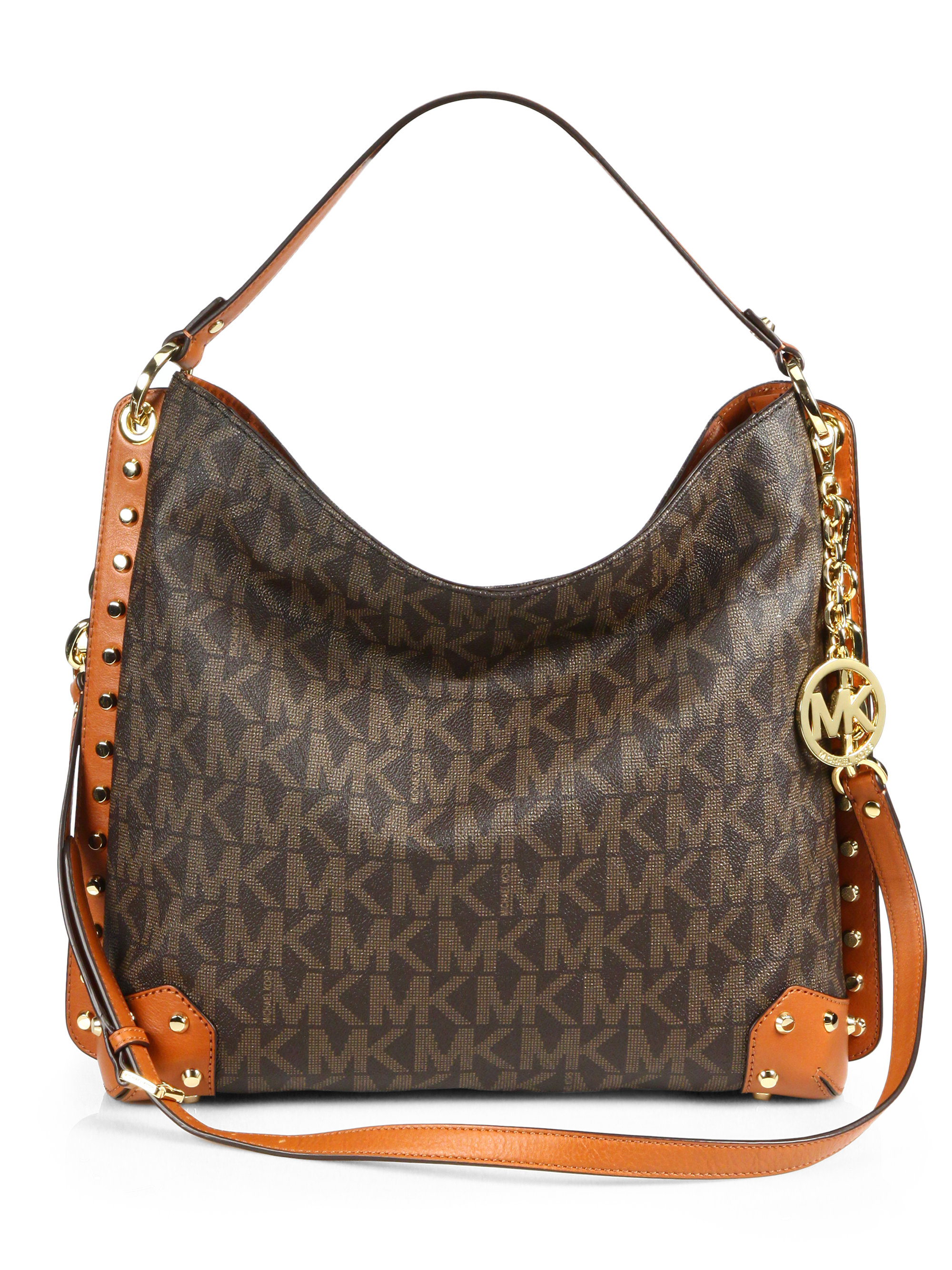 Lyst - Michael Michael Kors Serena Large Shoulder Bag in Brown