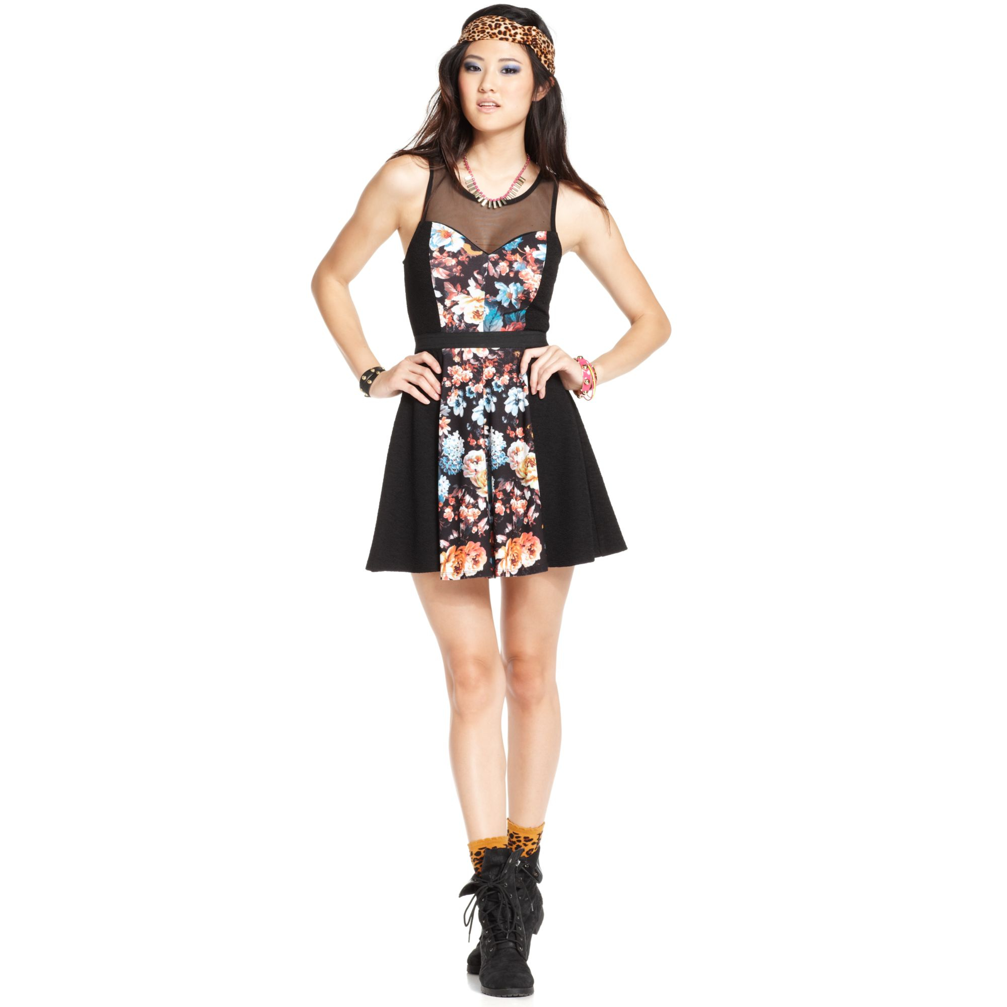 Material girl Juniors Paneled Illusion Skater Dress in Black | Lyst