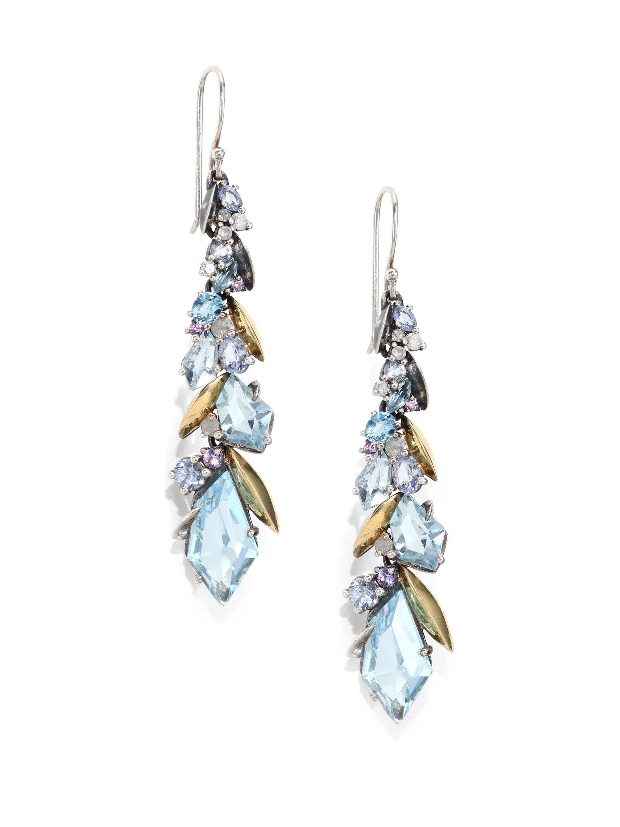 Alexis bittar fine Diamond Sapphire Blue Topaz Sterling Silver