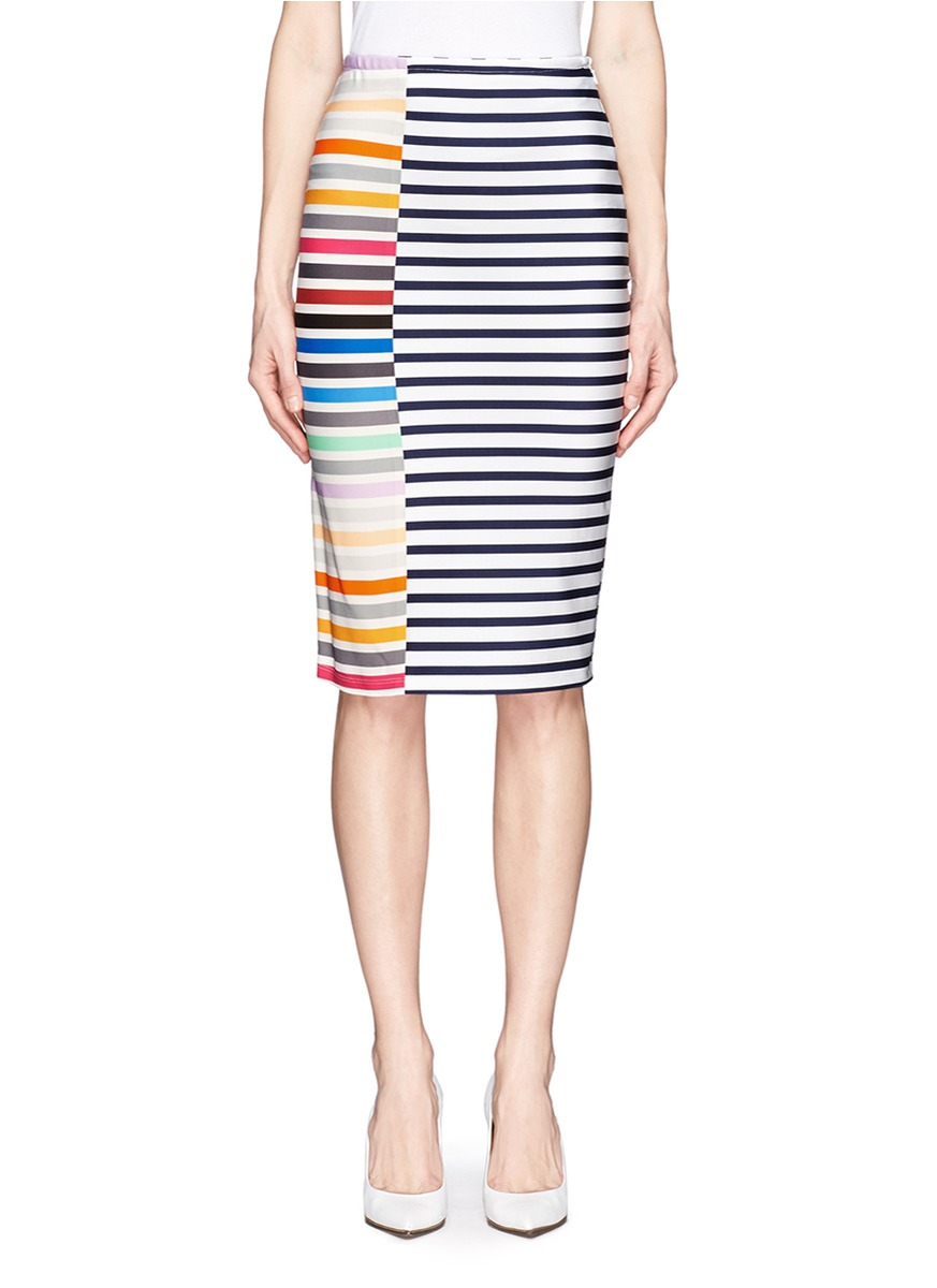 Tanya taylor Peggy Micro Knit Striped Pencil Skirt | Lyst