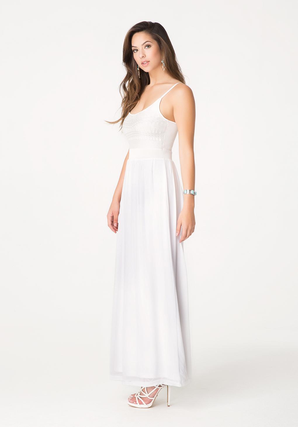 e6dac78c27d Bebe Petite 2-Fer Maxi Dress in White - Lyst