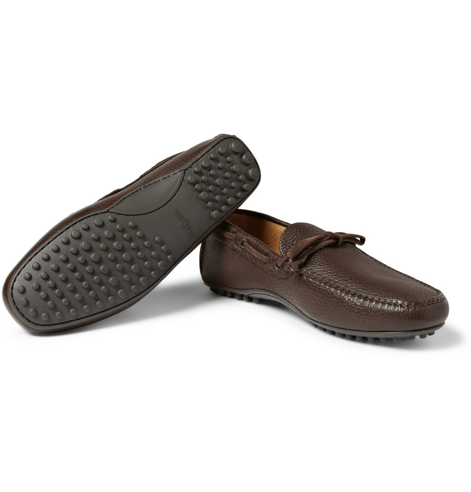 car shoe leather driving shoes in brown for lyst