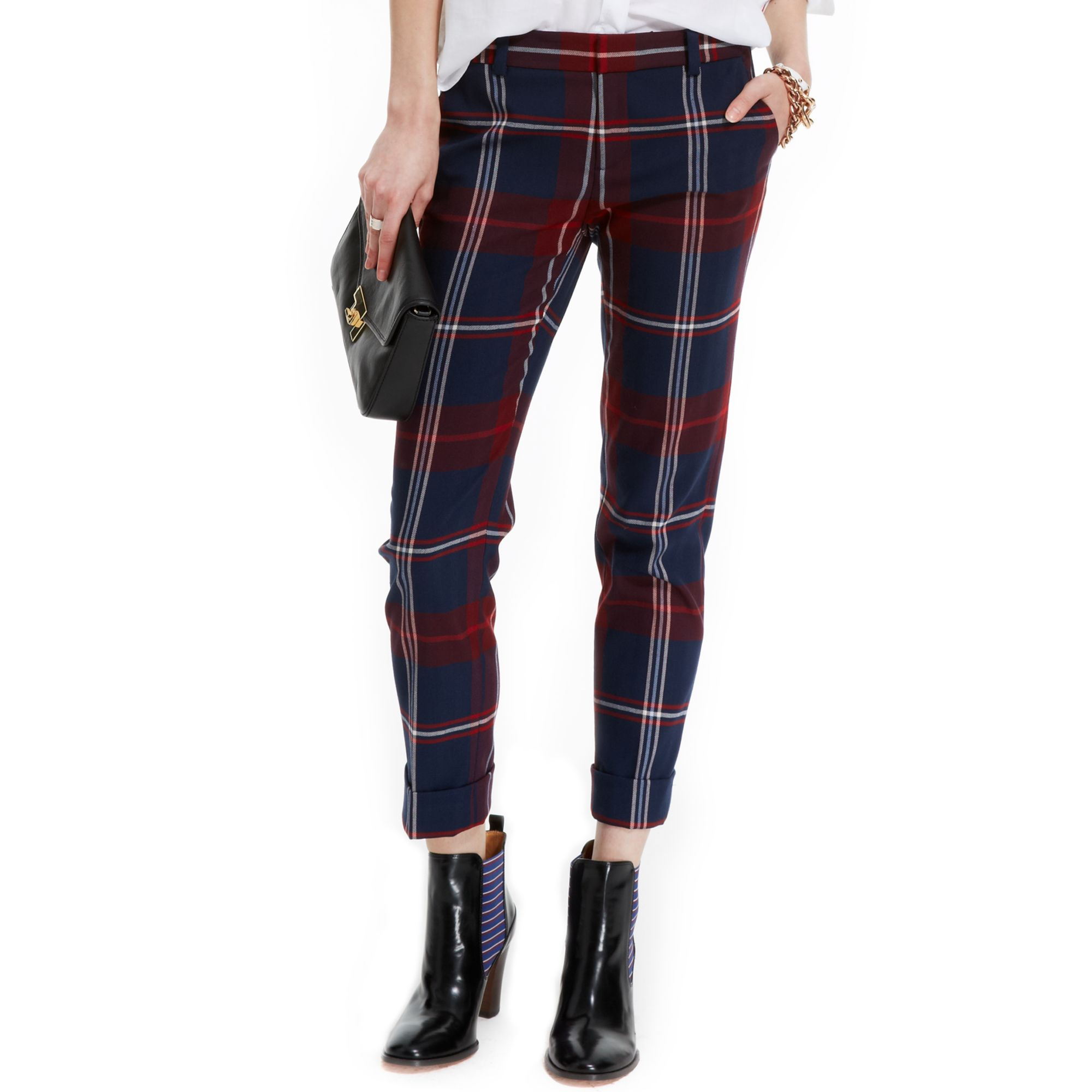 Tommy hilfiger Plaid Cropped Pants | Lyst
