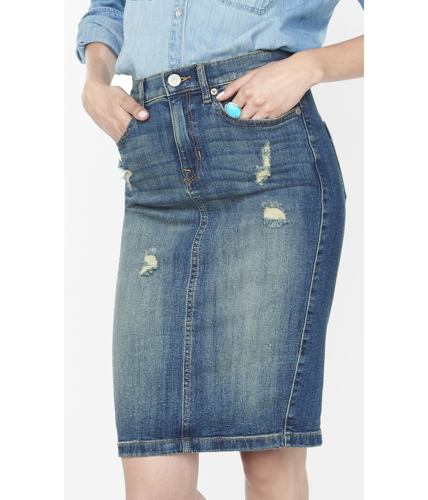 Express Distressed High Waisted Denim Pencil Skirt in Blue | Lyst