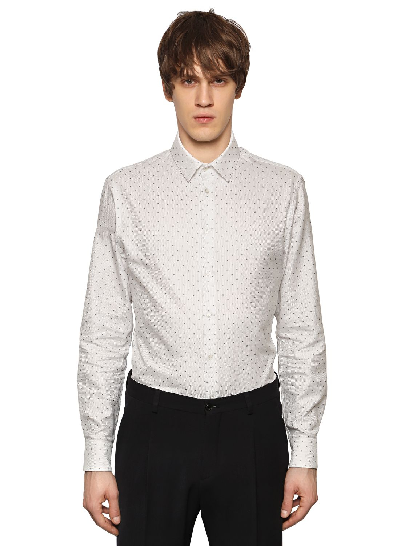 giorgio armani printed textured cotton shirt in white for