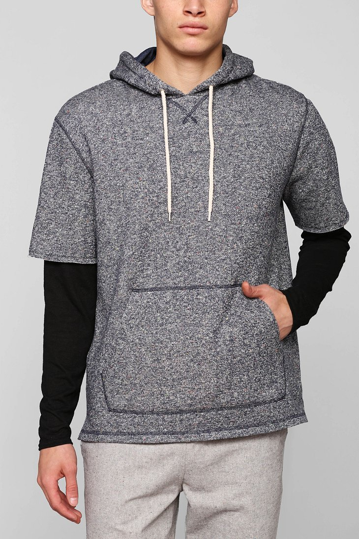 Bdg Nep Short-Sleeve Pullover Hooded Sweatshirt in Blue for Men | Lyst