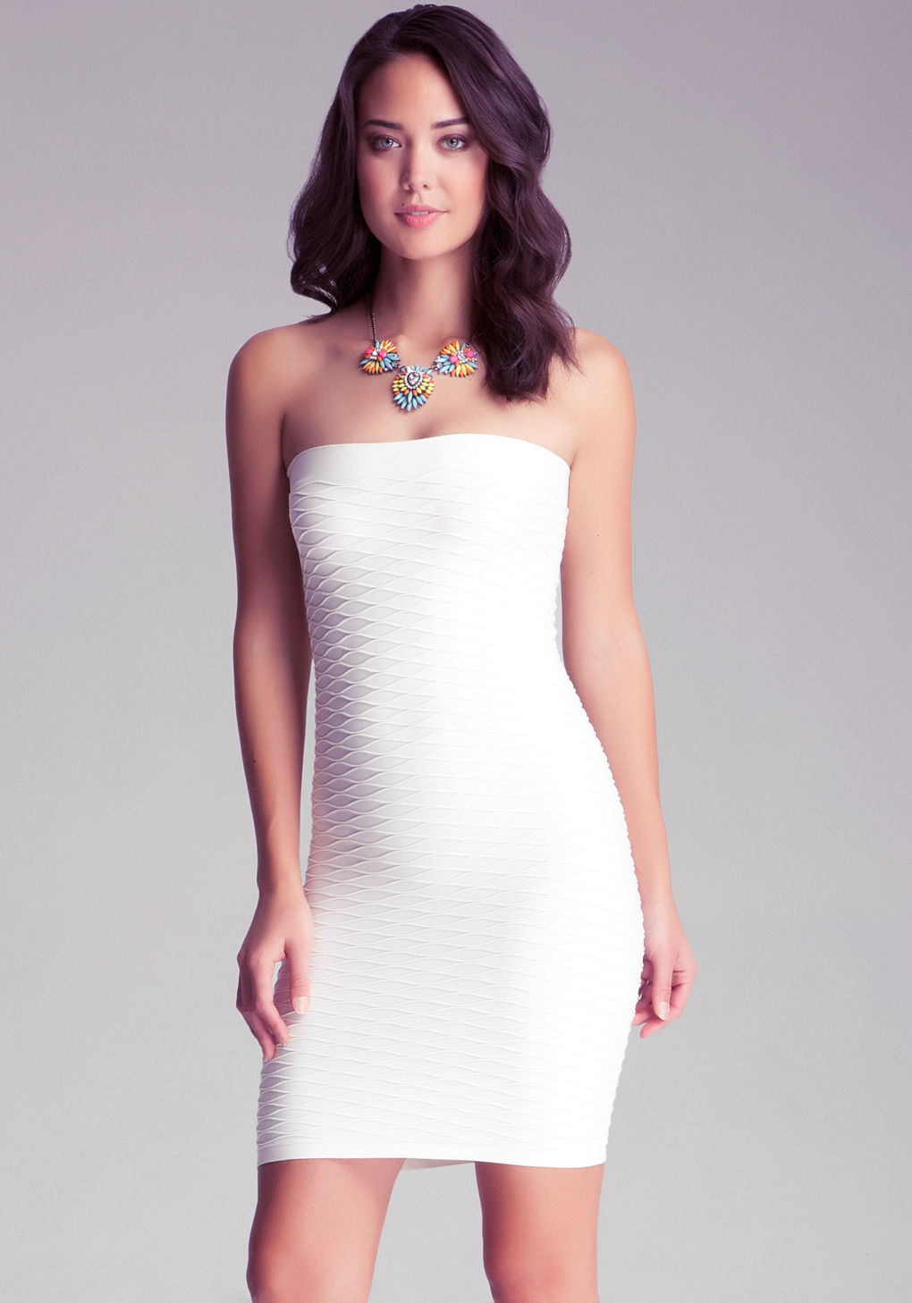 Lyst Bebe Wave Textured Tube Dress In White
