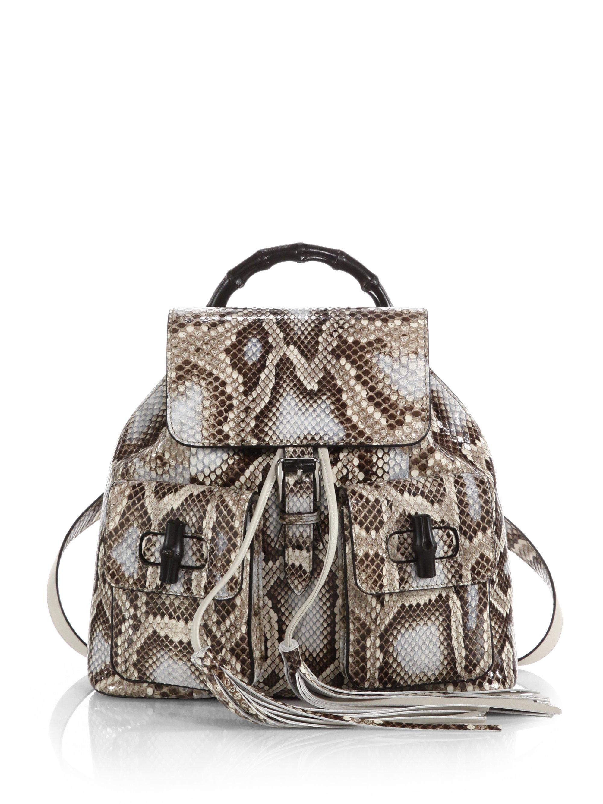 b2b69c3015efcb Gucci Bamboo Sac Python Backpack - Lyst