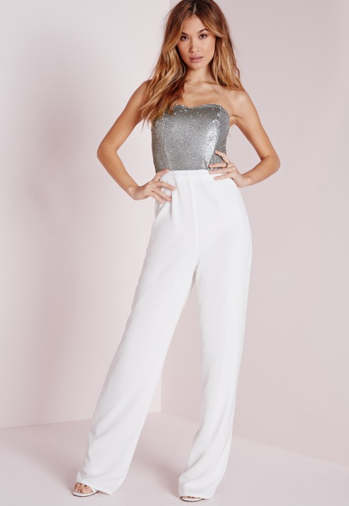 Missguided Sequin Embellished Bandeau Jumpsuit Silver in ...
