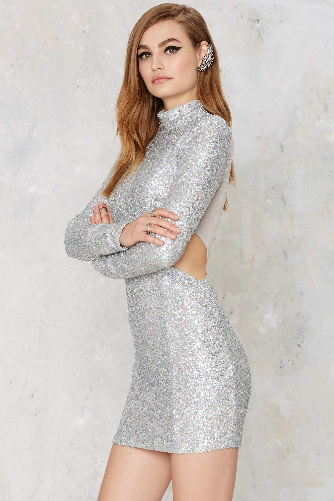 a9af420f Nasty Gal Take A Shine Sequin Cutout Dress in Metallic - Lyst