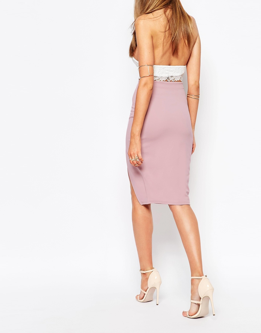 Missguided Thigh High Split Pencil Skirt in Purple   Lyst