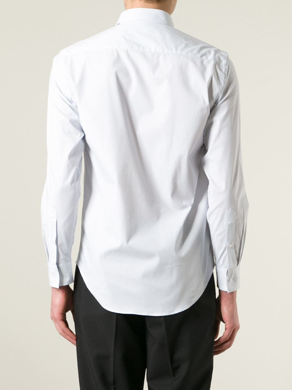 Msgm button down polka dot shirt in white for men lyst for Button down polka dot shirt