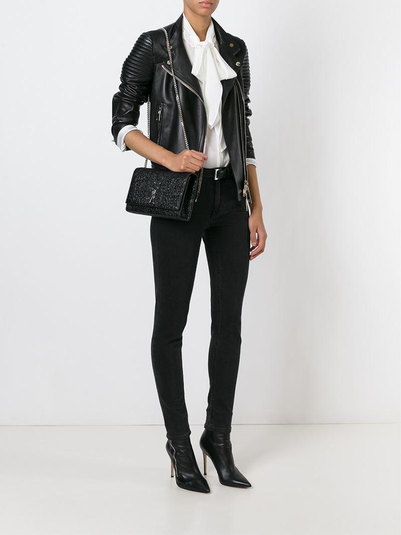 Lyst - Saint Laurent Medium Monogram Leather Cross-Body Bag in Black 253947adf90d1