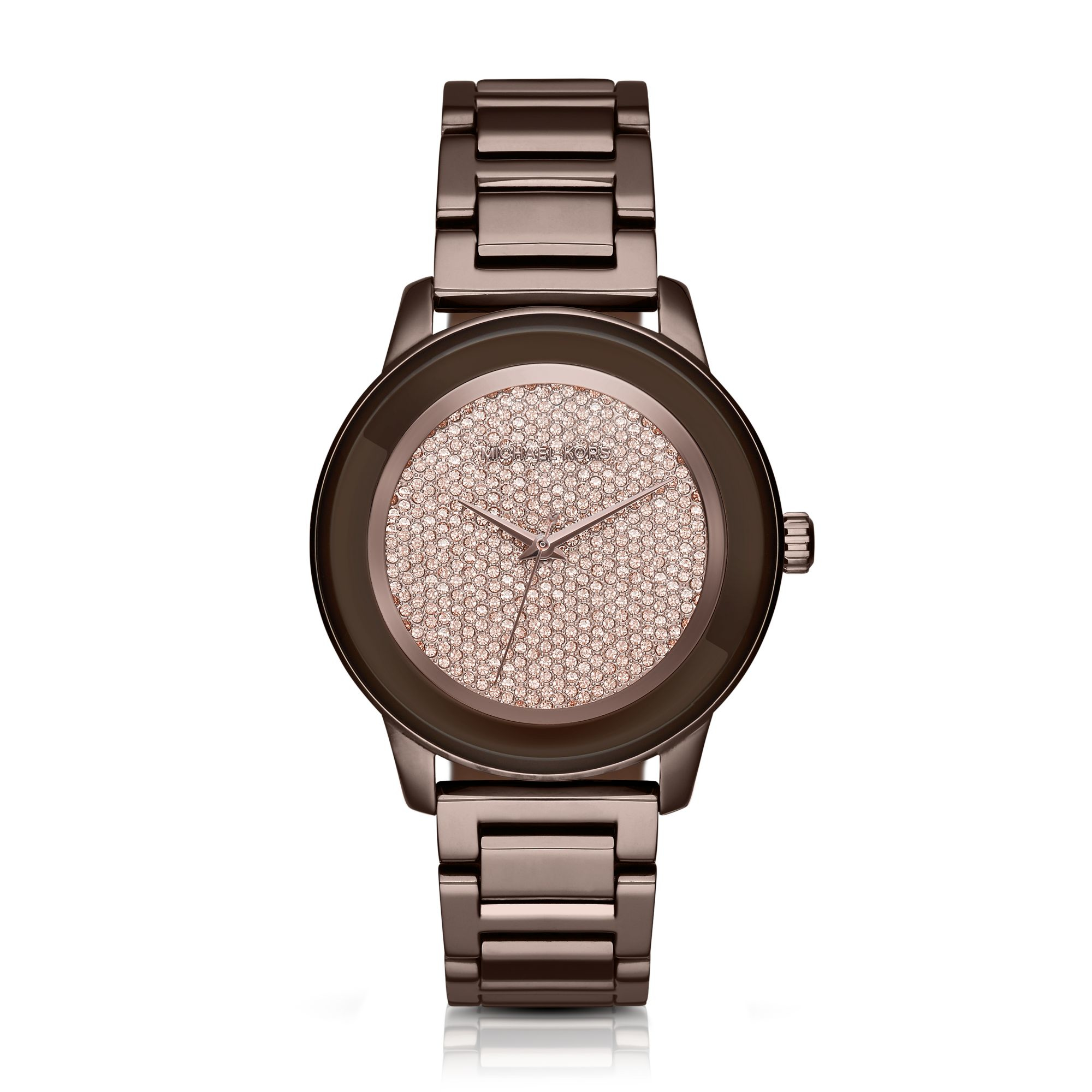 2e4f0fc3ff26 Lyst - Michael Kors Kinley Pave Sable Watch in Brown
