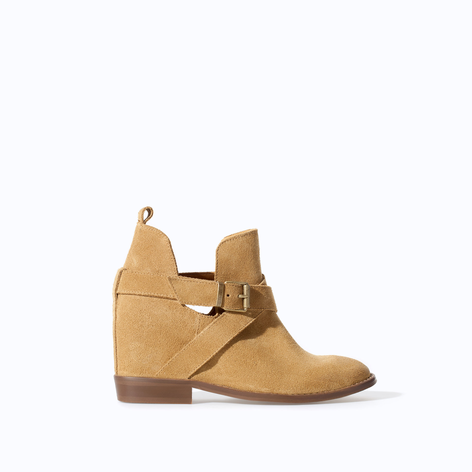 zara open work leather wedge heel ankle boot in brown