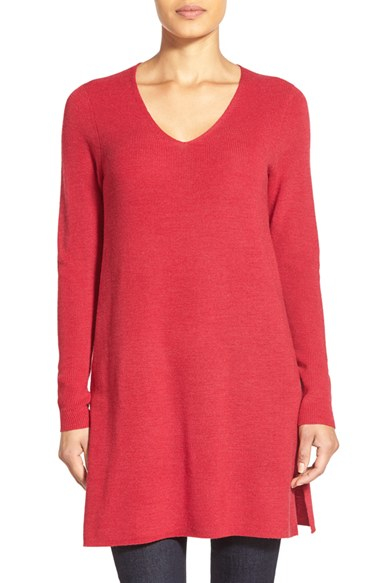 Eileen fisher V-neck Merino Wool Tunic Sweater in Red | Lyst