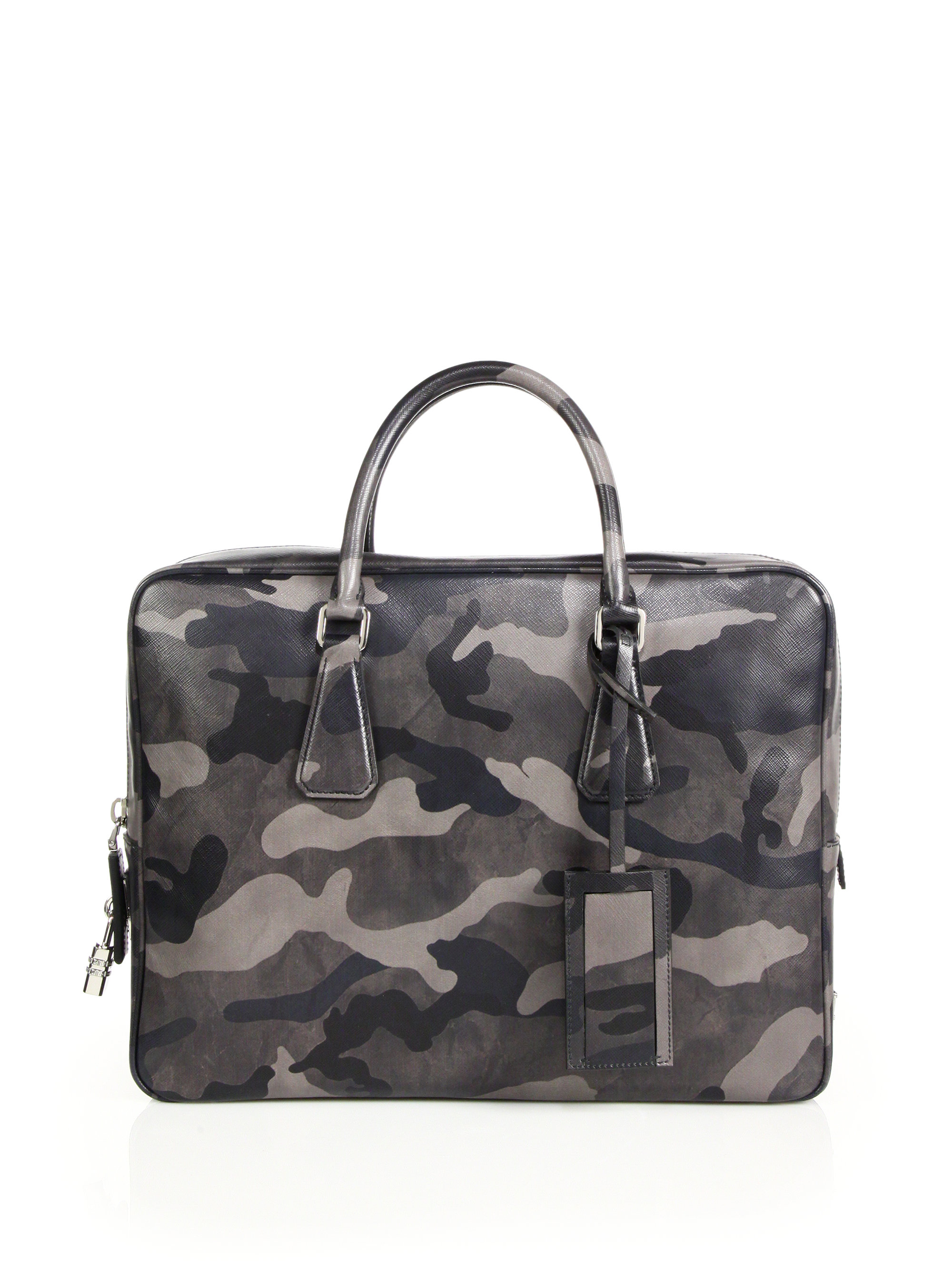 47aadb386166fd Prada Saffiano Camouflage Leather Briefcase in Gray for Men - Lyst