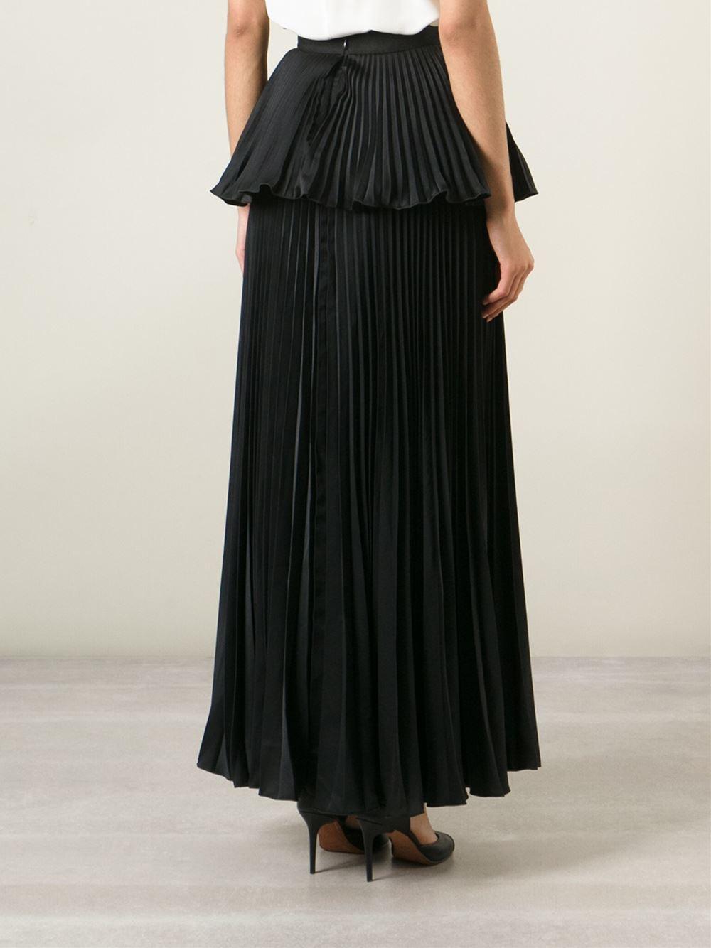 Issa Long Pleated Peplum Skirt In Black Lyst