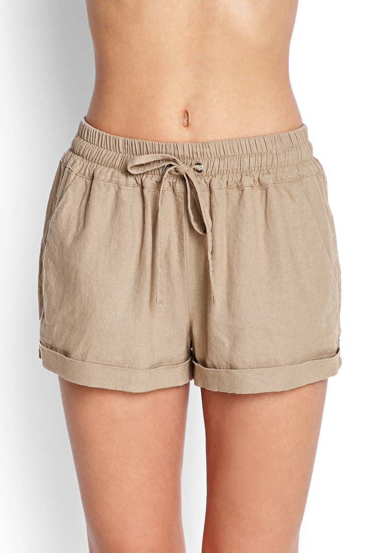 e5e334bf493ec Forever 21 Drawstring Linen-Blend Shorts in Brown - Lyst