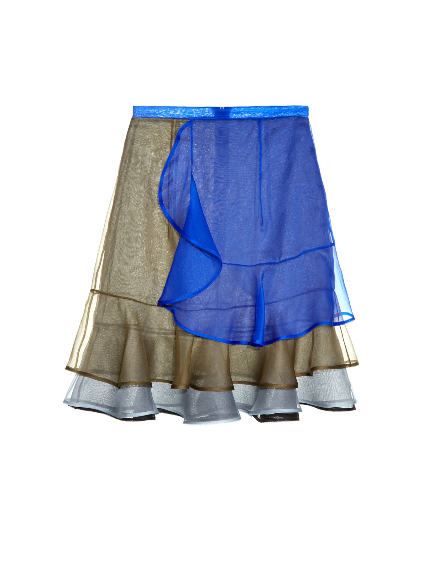 christopher layered ruffled organza skirt in blue