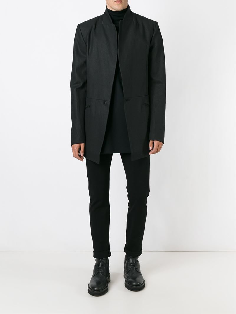 cotton black single men Crafted of black cotton velvet, vetements' single-button sportcoat is designed with narrow shoulders single vent peak lapels angled stand chest pocket.