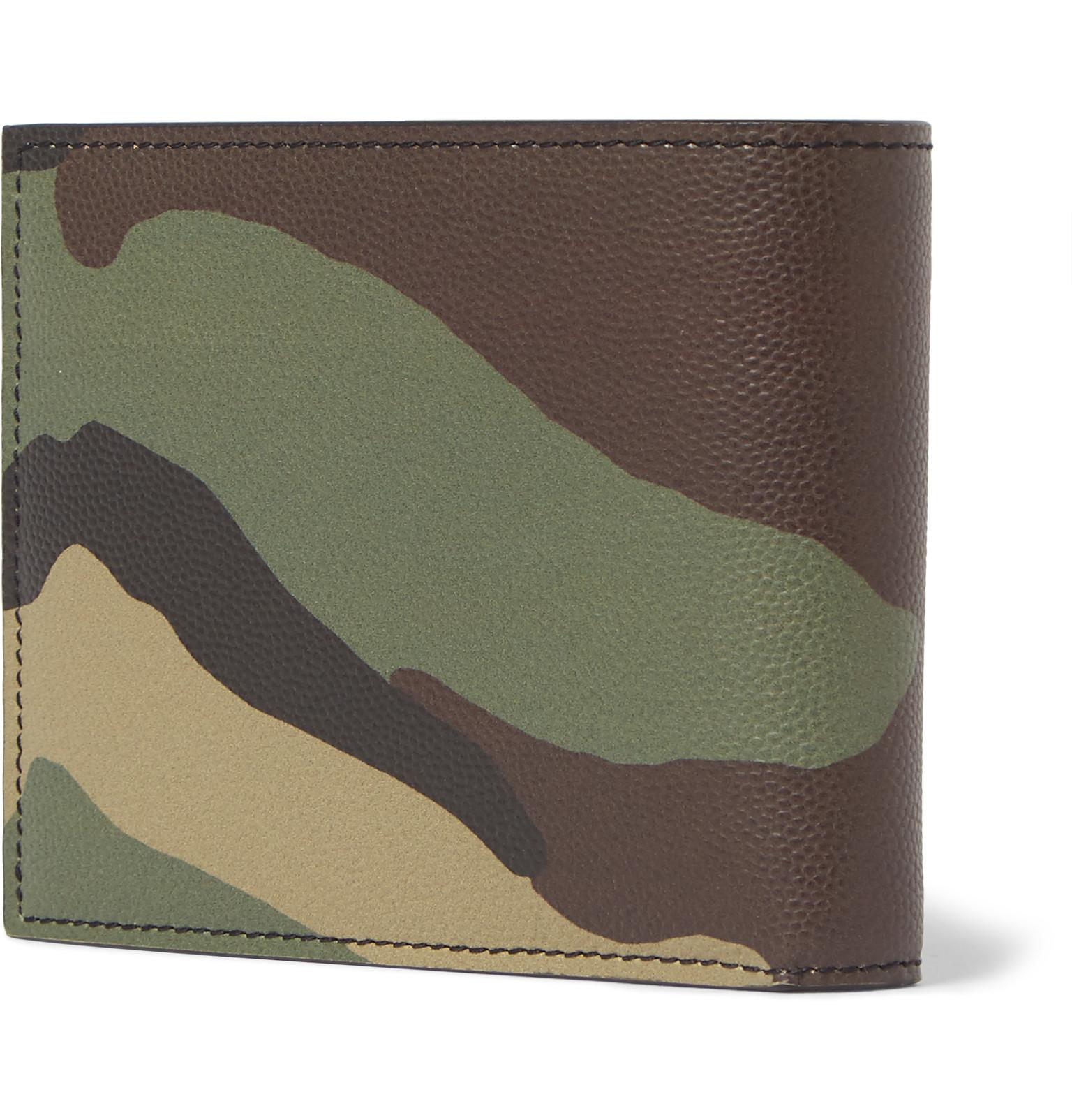 f7ad6a7b020 Saint Laurent Camouflage-print Pebble-grain Leather Billfold Wallet ...