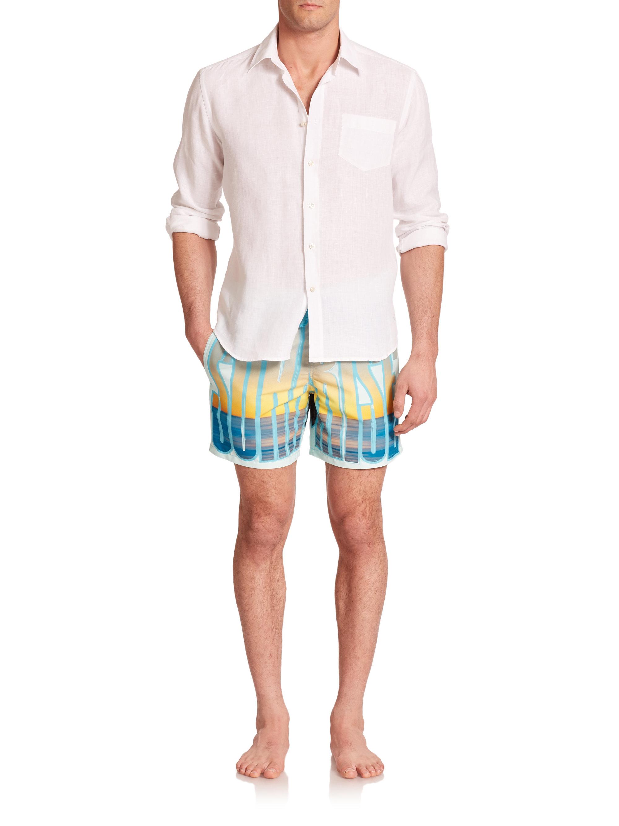 lyst vilebrequin moorea printed swim trunks in blue for men. Black Bedroom Furniture Sets. Home Design Ideas