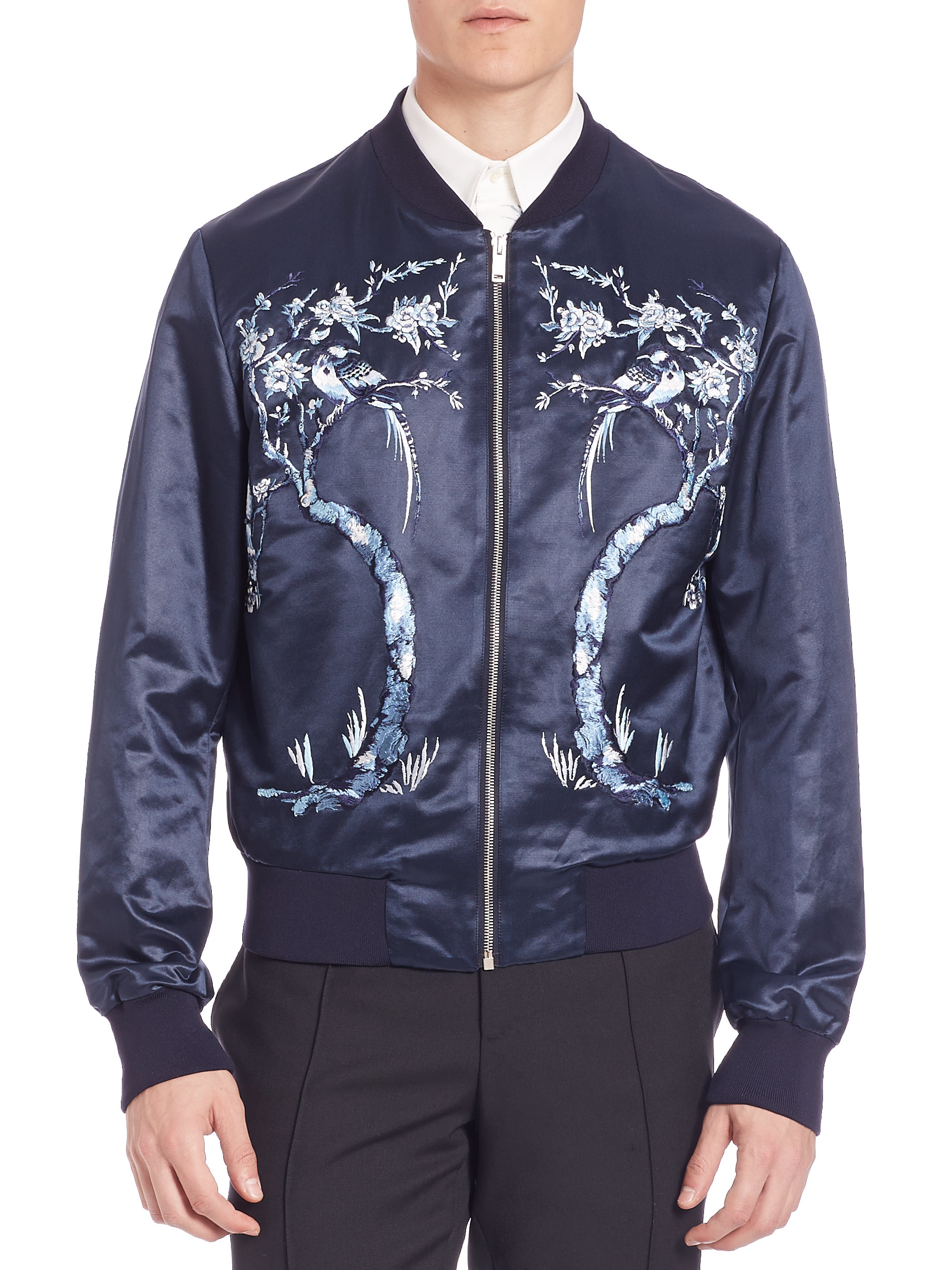 96abe91fdcf Alexander McQueen Embroidered Silk Bomber Jacket in Blue for Men - Lyst