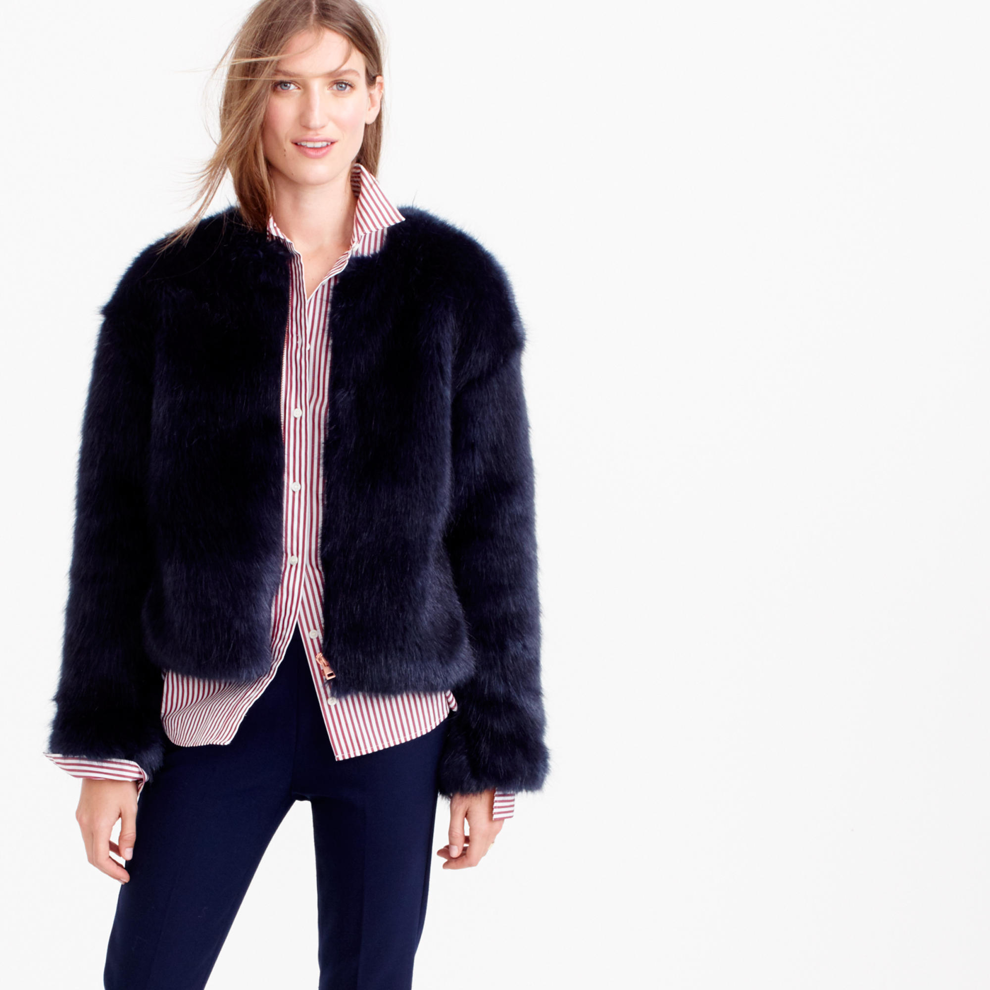 760b6f5b0e205 Lyst - J.Crew Collection Faux-fur Jacket in Blue