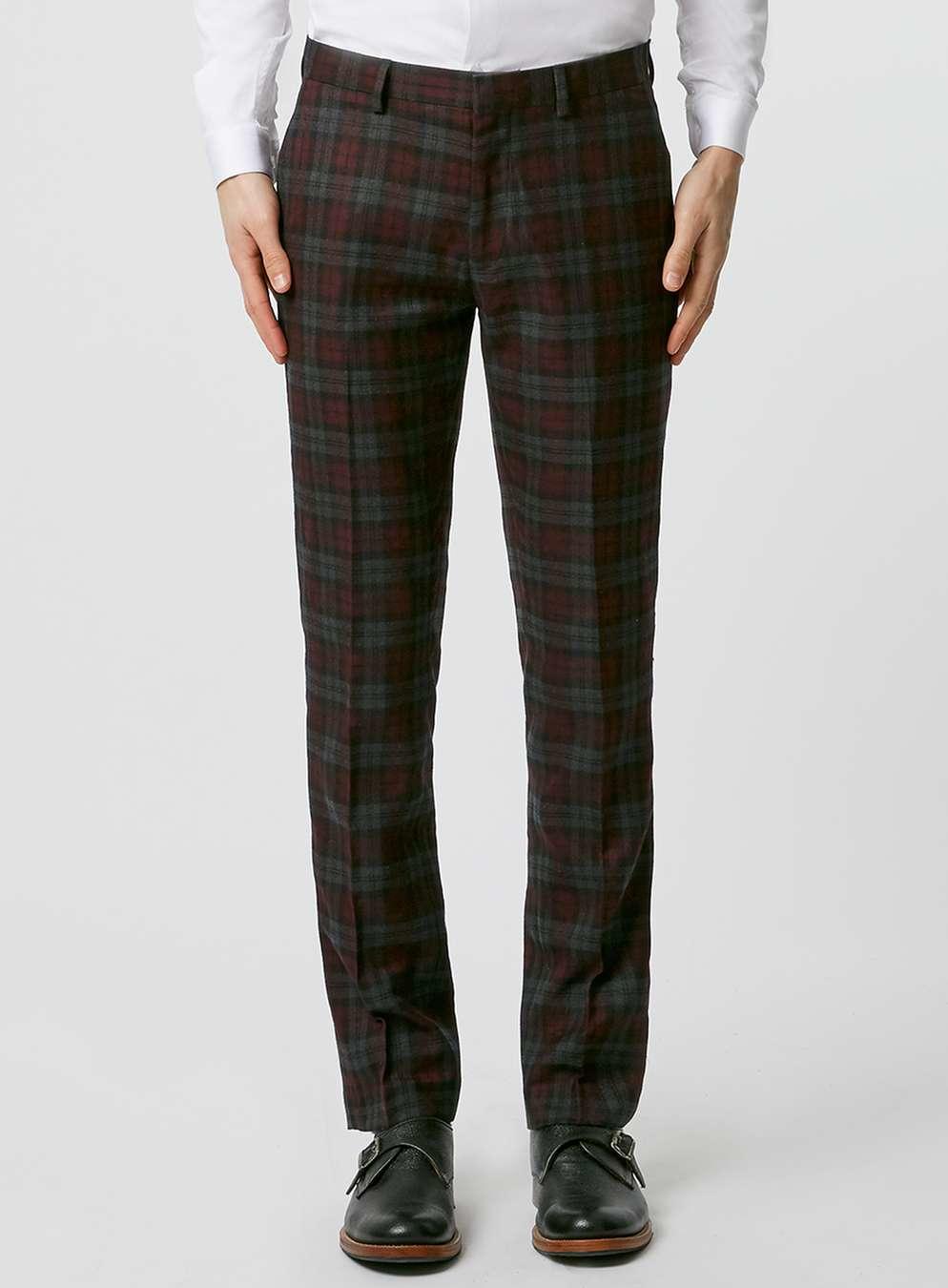 5c9d649526d6 Lyst - TOPMAN Burgundy Check Skinny Suit Pants in Red for Men