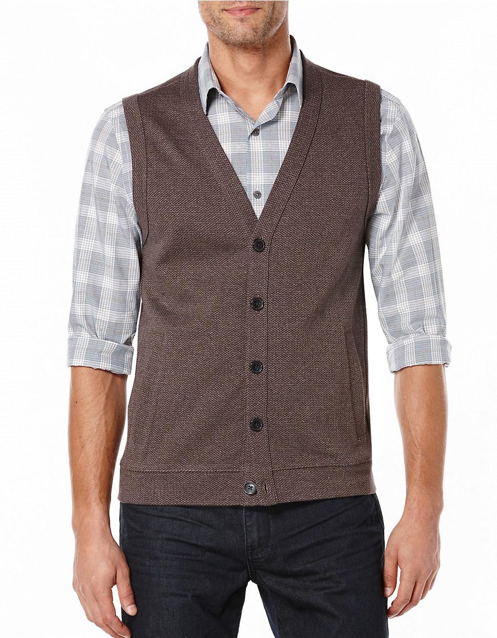 Perry ellis Big And Tall Herringbone Sweater Vest in Brown for Men ...