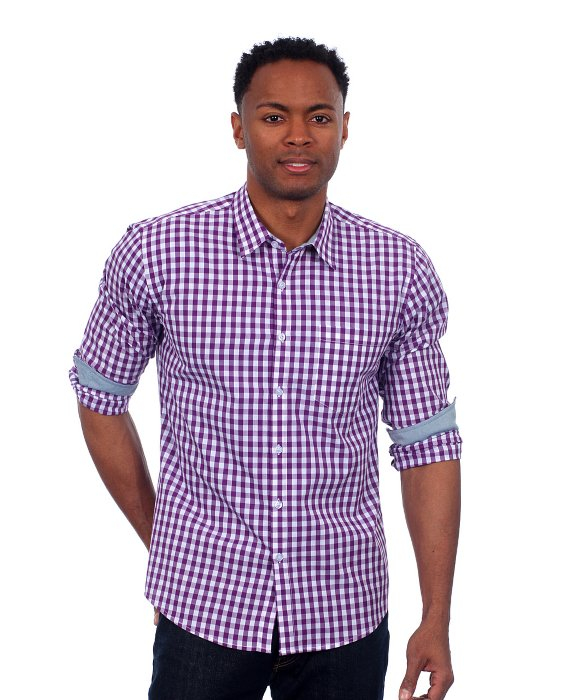 Filthy etiquette men 39 s black gingham plaid shirt in purple for Mens black plaid dress shirt