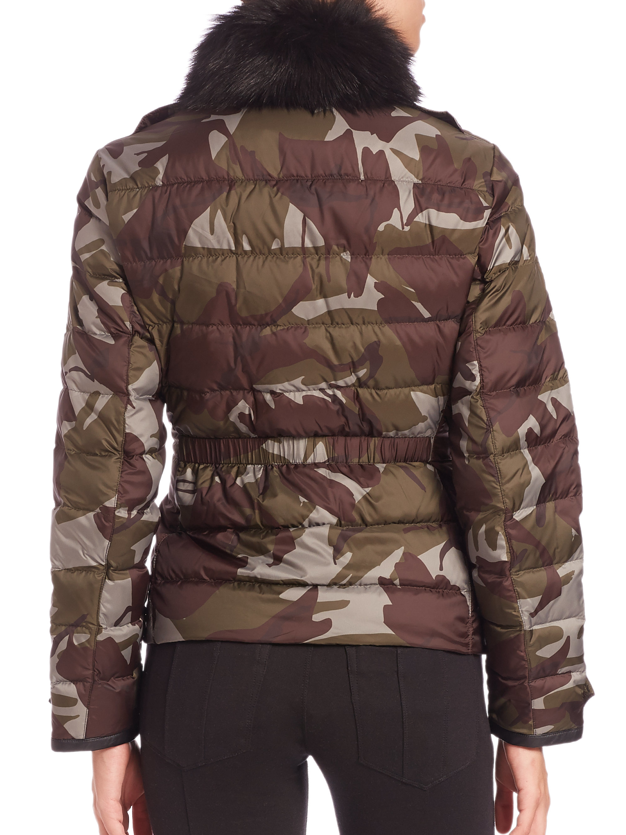 Burberry Brit Tottsdale Shearling Trimmed Camo Puffer