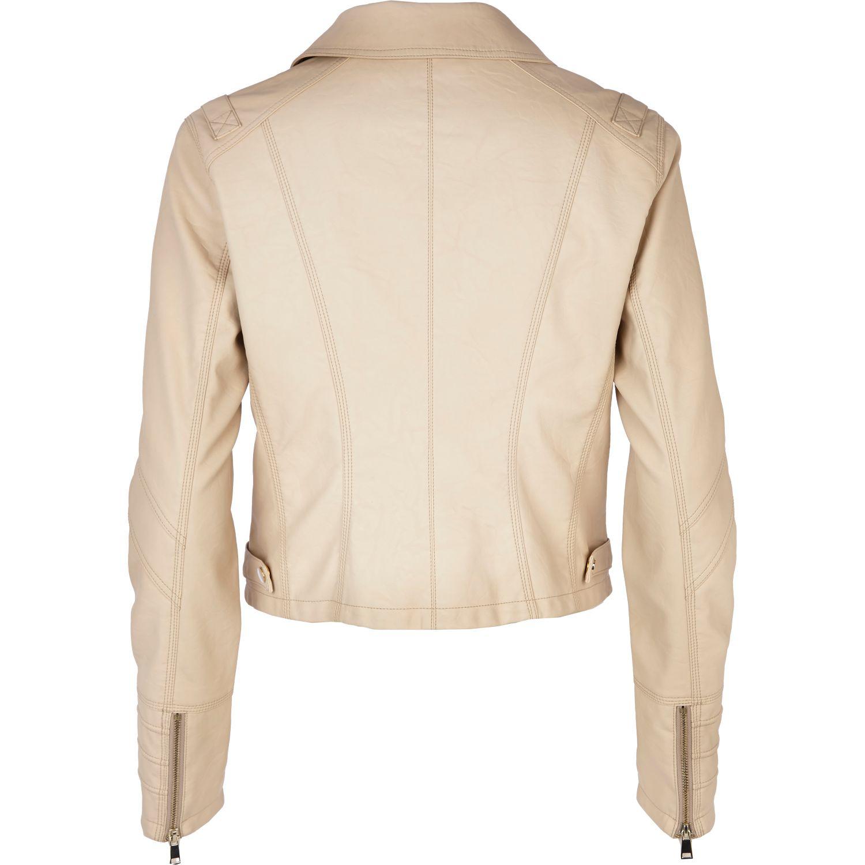 River Island Cream Leather Jacket