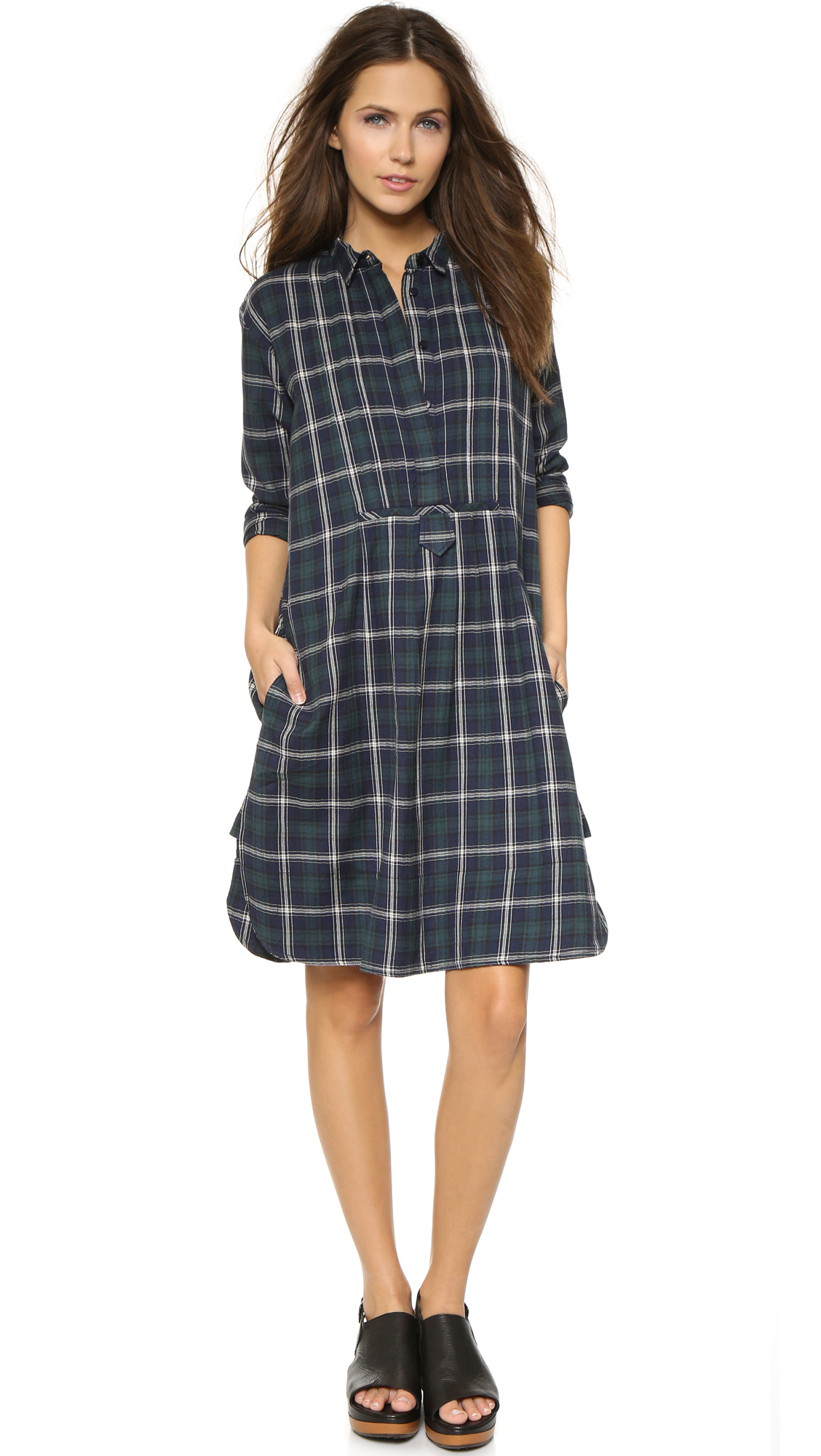 Lyst just female free shirt dress blue check in blue for Blue check dress shirt