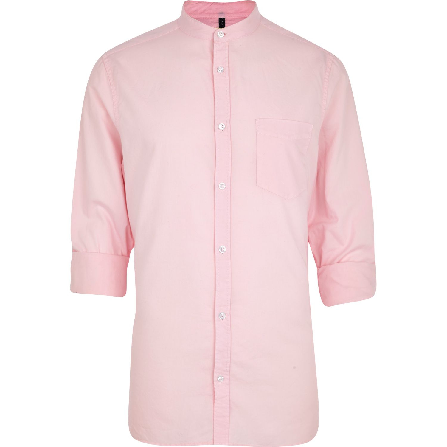 River island pink grandad collar oxford shirt in pink for for Pink oxford shirt men