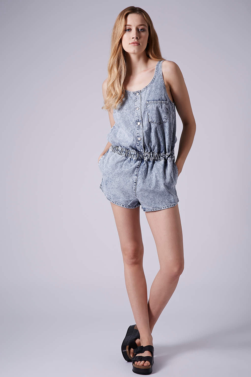 7f67e3c6e1f TOPSHOP Moto Acid Wash Denim Playsuit in Blue - Lyst