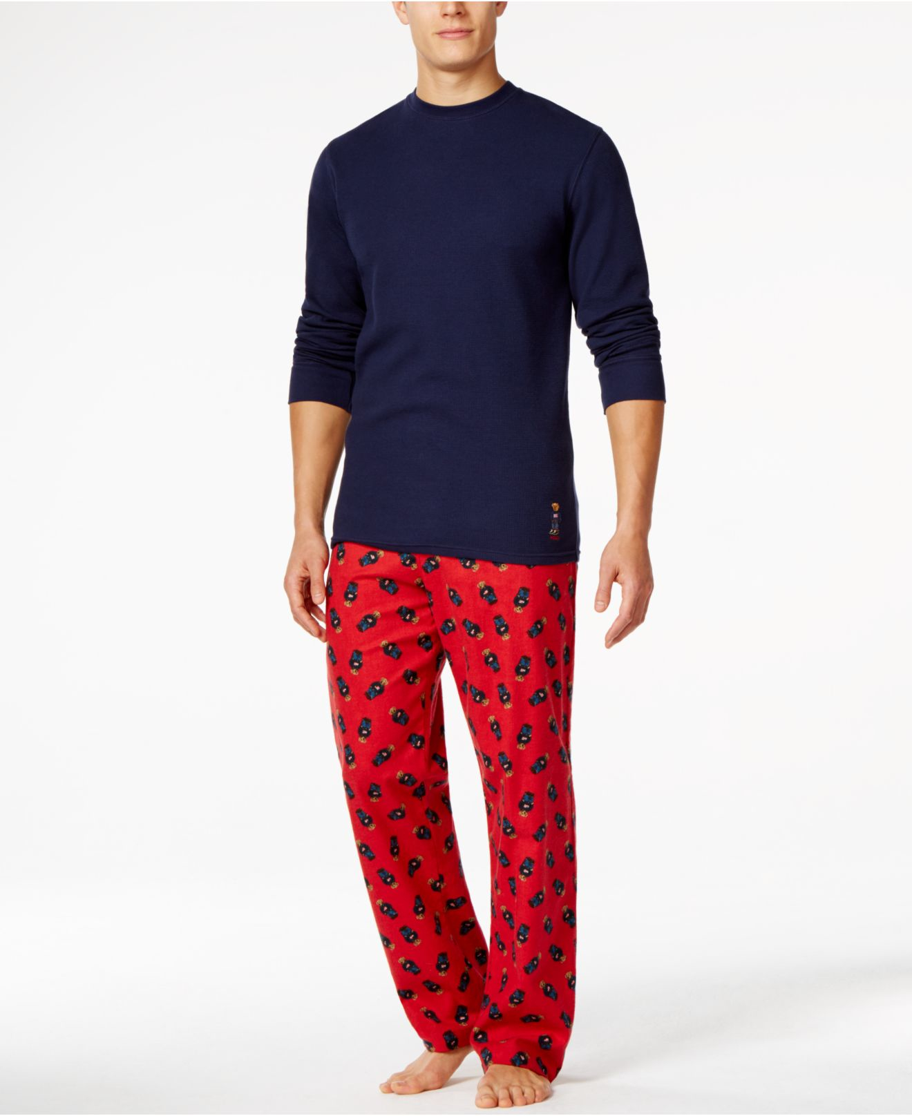 d078befc6a3c Lyst - Polo Ralph Lauren Waffle Crew Neck And Printed Bear Flannel ...