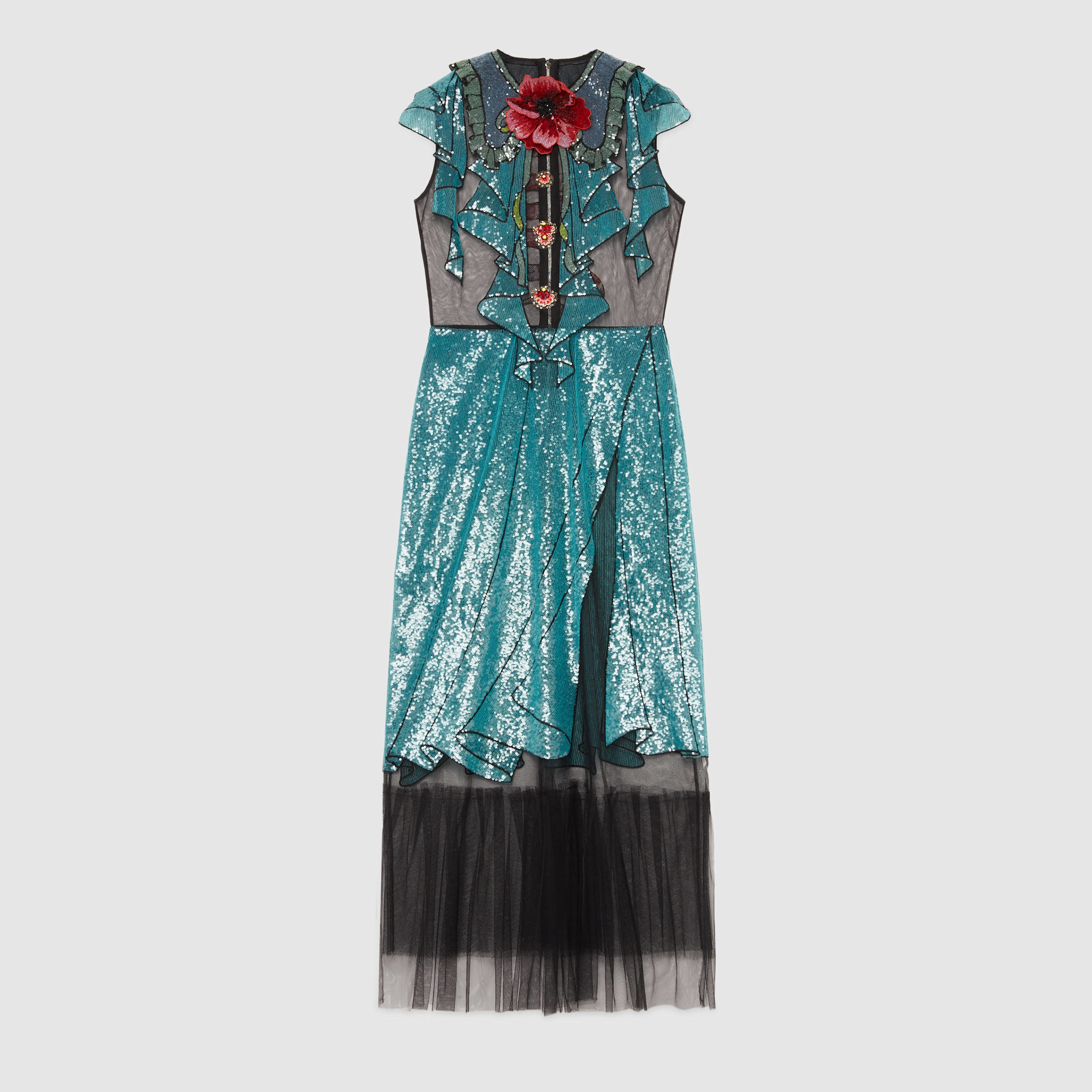 Lyst gucci embroidered tulle dress in blue