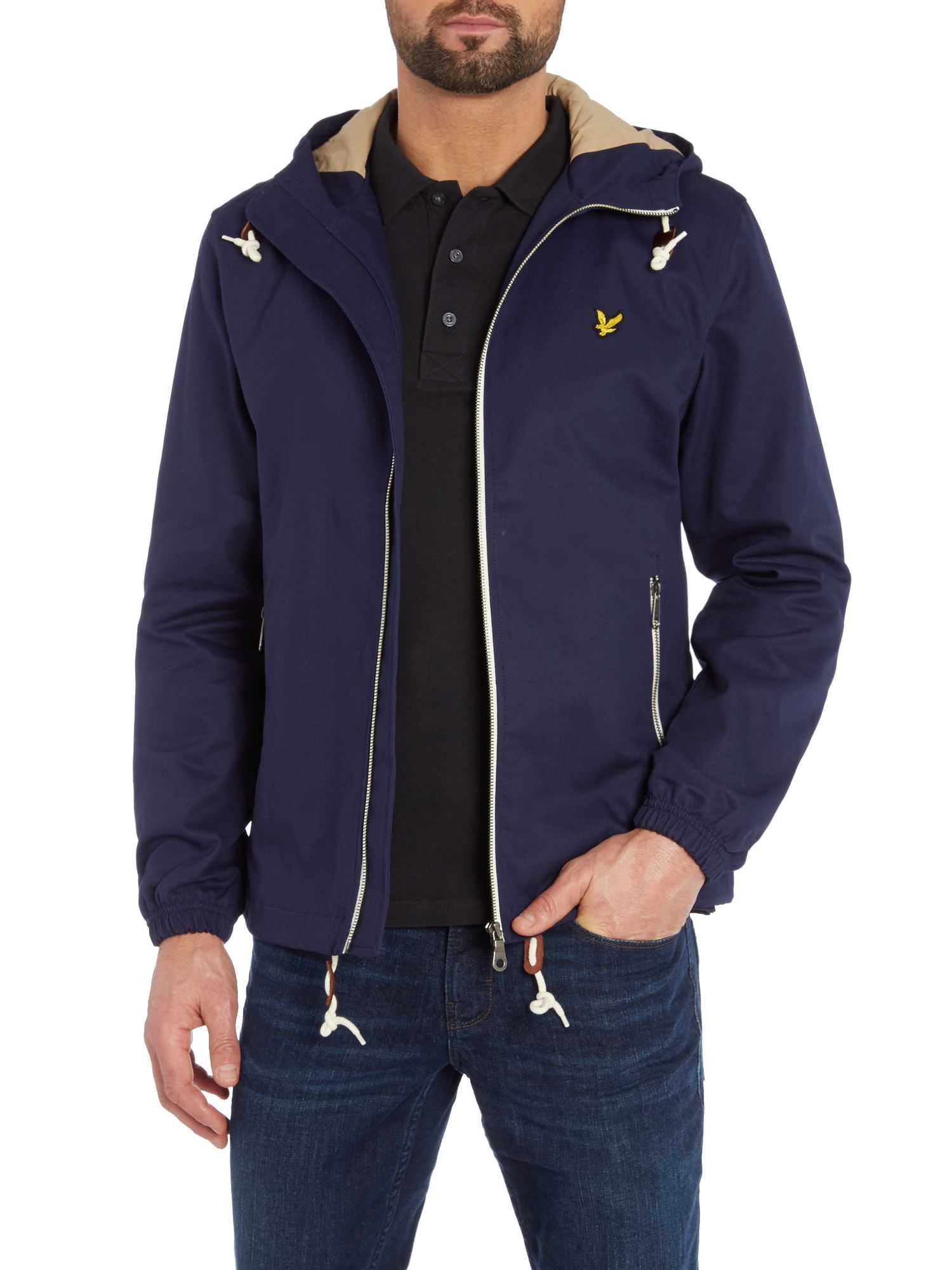 lyle scott hooded twill jacket in blue for men lyst. Black Bedroom Furniture Sets. Home Design Ideas