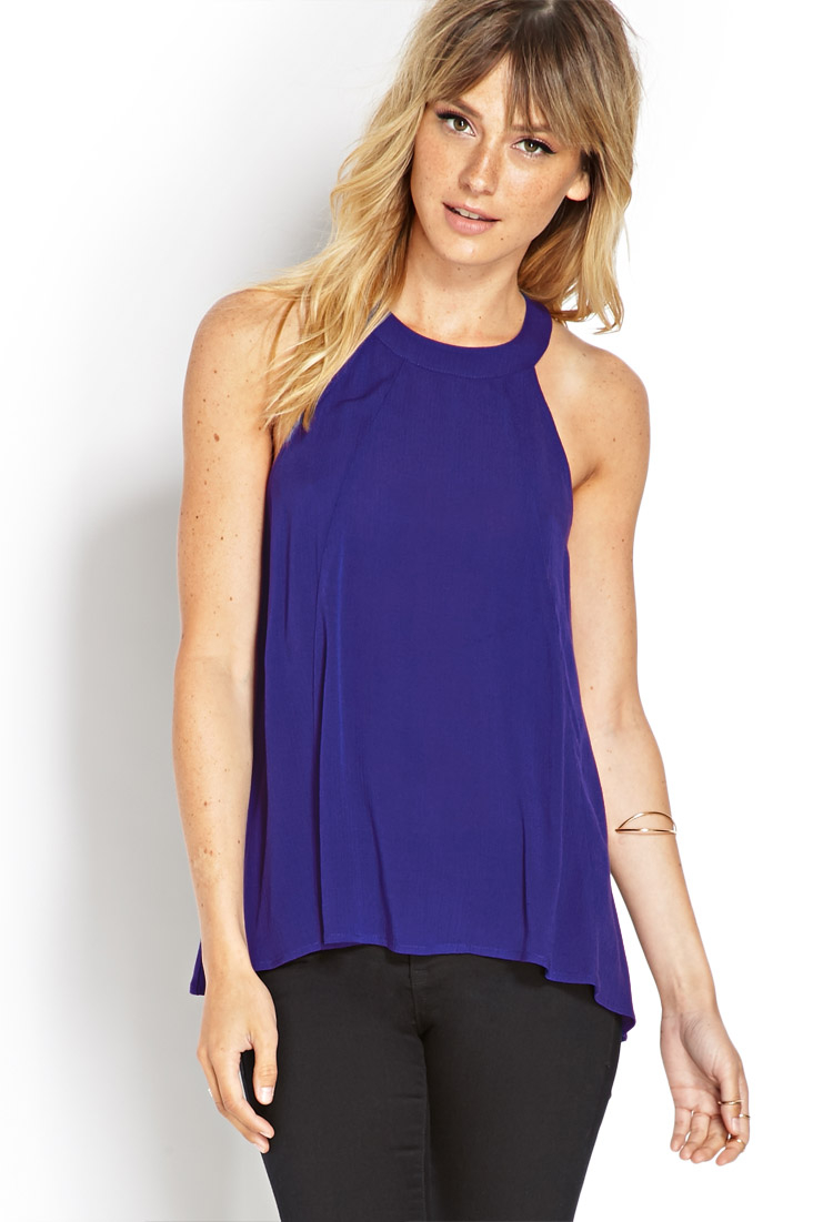 Lyst Forever 21 Trapeze Halter Top In Blue